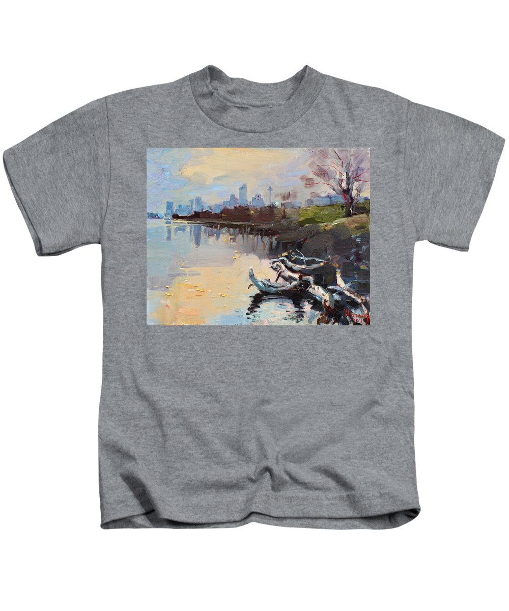Landscape Kids T-Shirt featuring the painting A Quiet End Of Day by Ylli Haruni