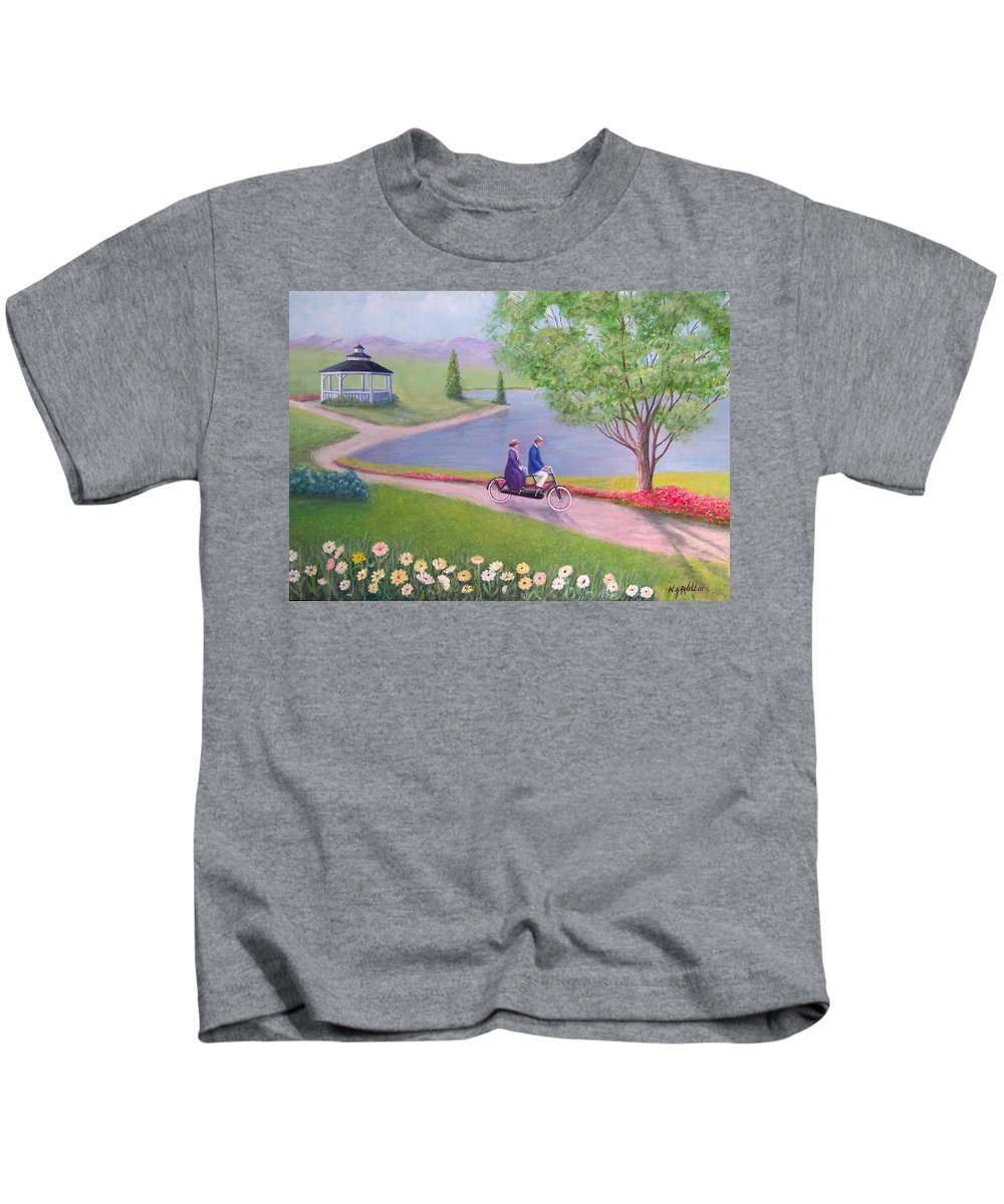 Landscape Kids T-Shirt featuring the painting A Ride In The Park by William Ravell