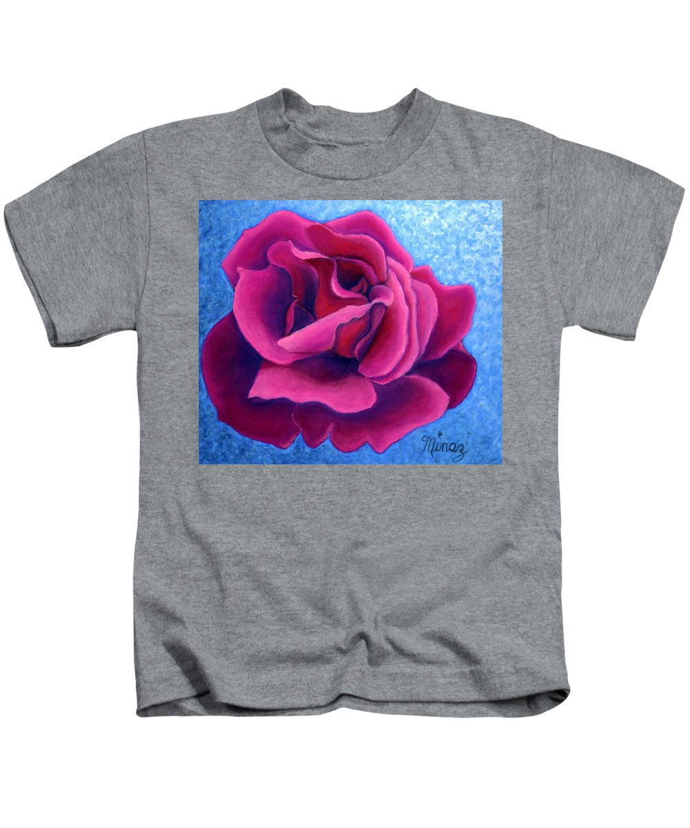 Rose. Pink Rose Kids T-Shirt featuring the painting A Rose Is A Rose.. by Minaz Jantz