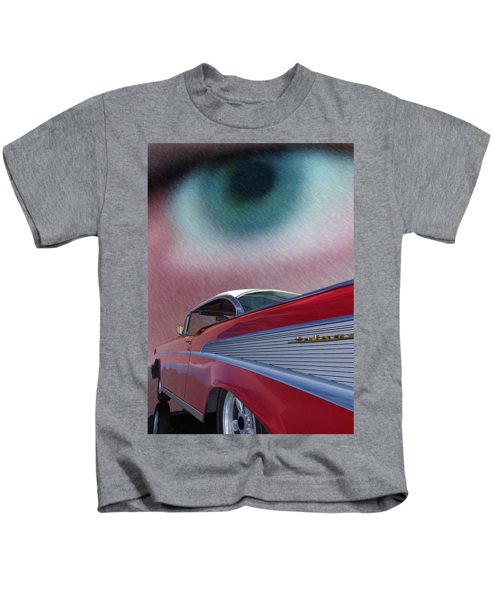 Classic Cars Kids T-Shirt featuring the digital art A Second Look by Richard Rizzo