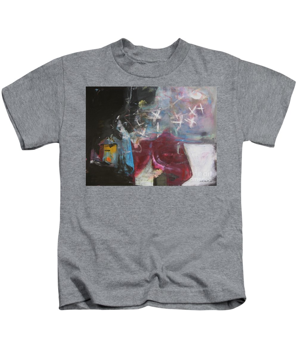 Abstract Paintings Kids T-Shirt featuring the painting A Short Story by Seon-Jeong Kim