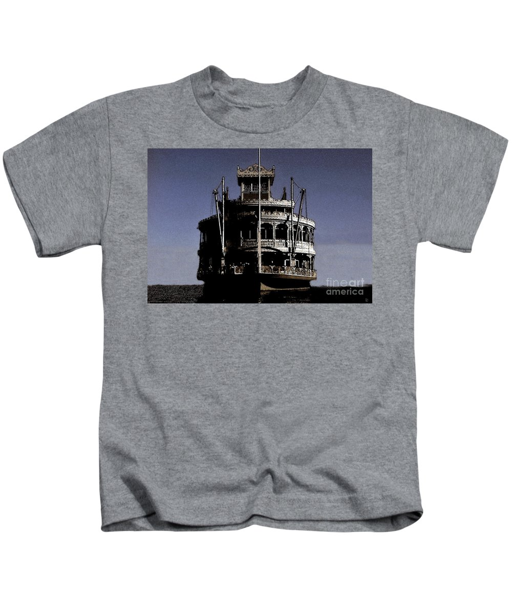 Steamboat Kids T-Shirt featuring the painting A Steamboat Coming by David Lee Thompson