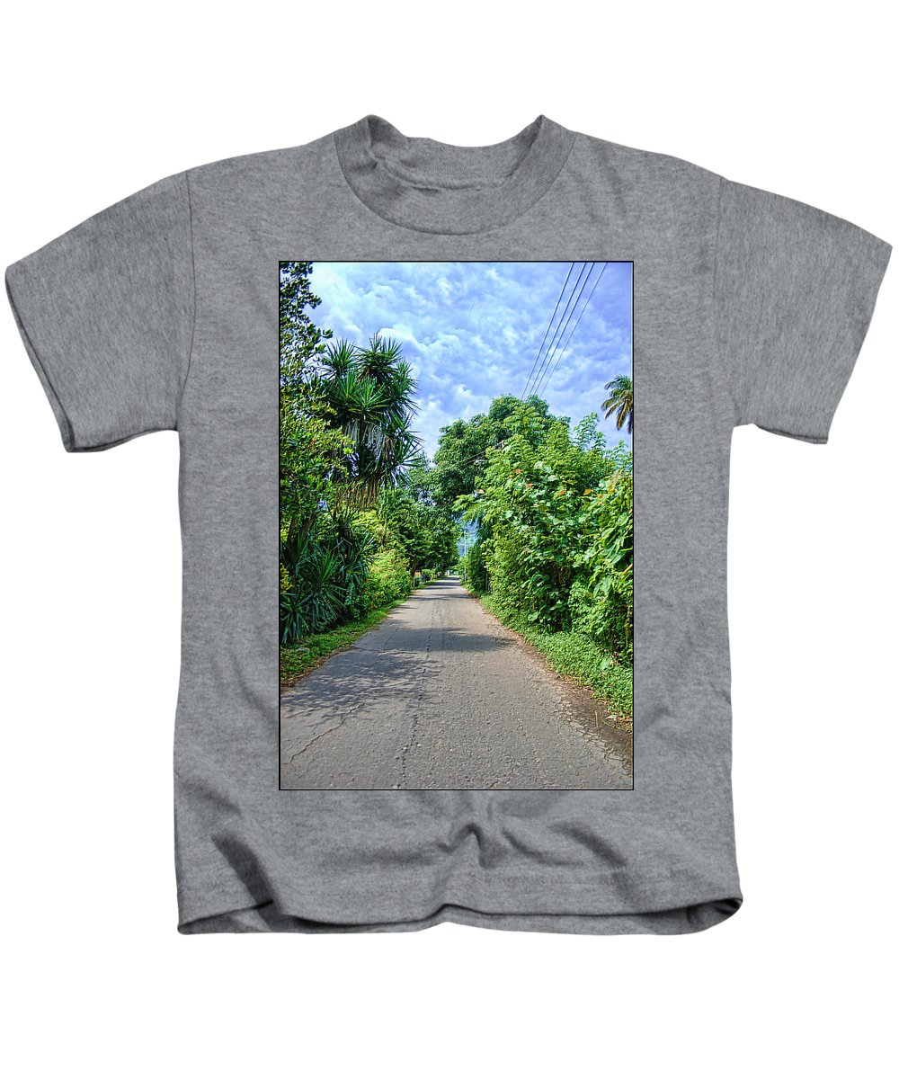 Street Kids T-Shirt featuring the photograph A Street Between Trees by Galeria Trompiz