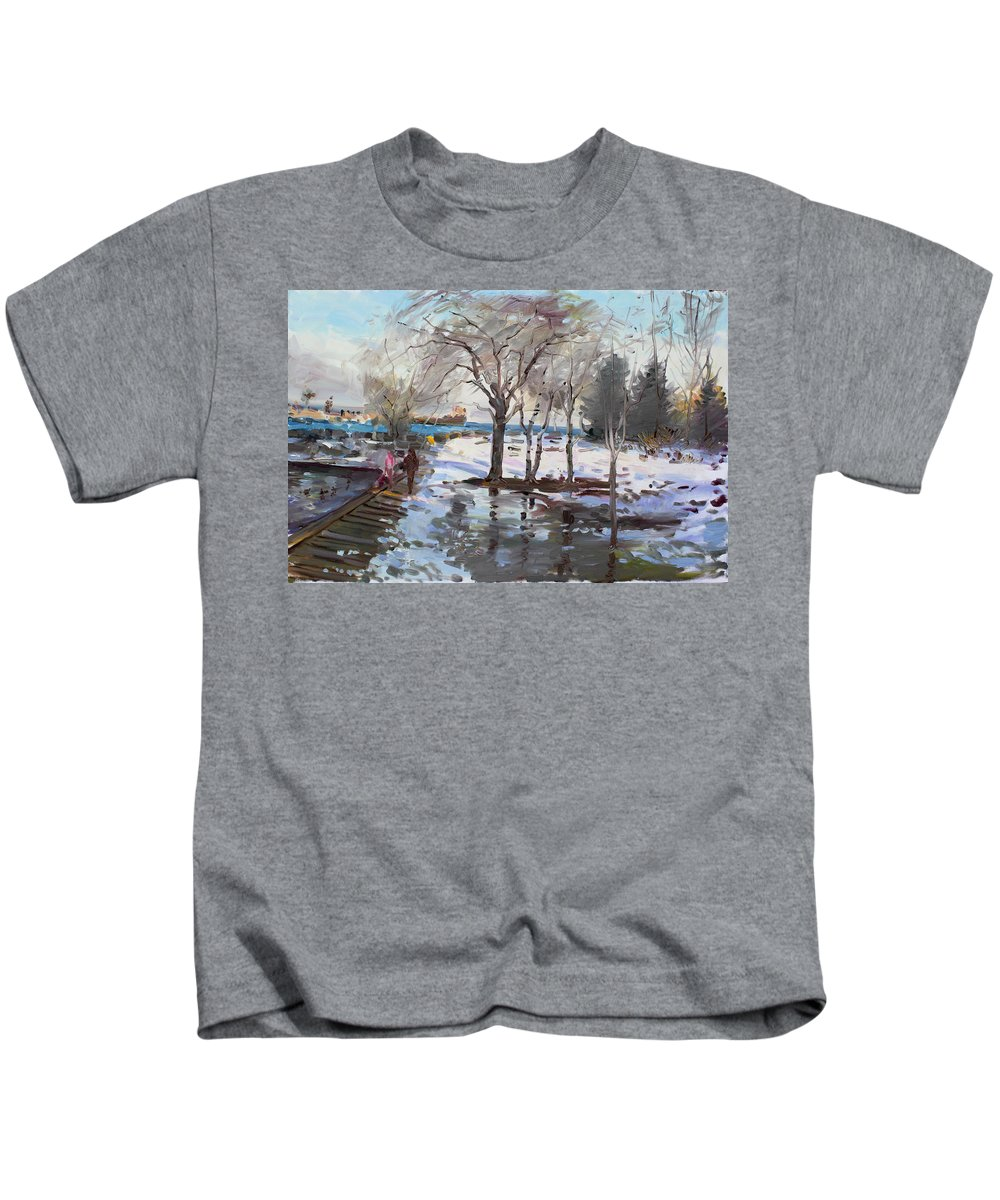 Landscape Kids T-Shirt featuring the painting A Sunny Freezing Day by Ylli Haruni