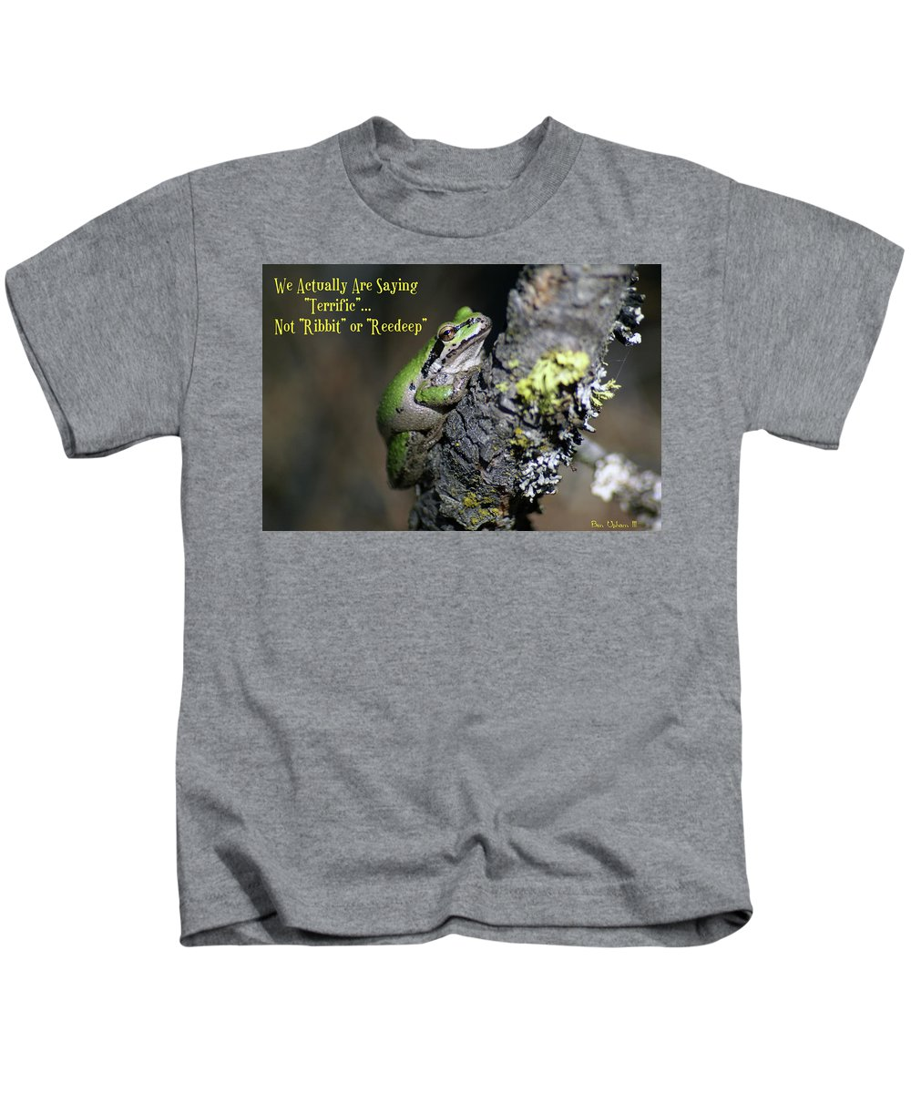 Frog Kids T-Shirt featuring the photograph A Terrific Frog #1 by Ben Upham III
