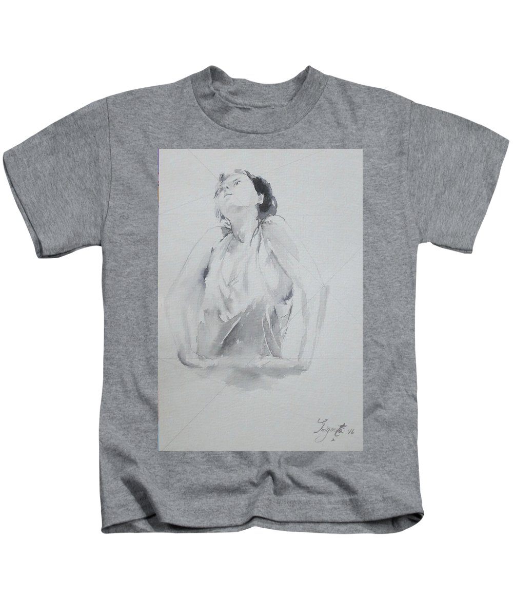 Portret Kids T-Shirt featuring the drawing A Thought That Rises by Grigorita Martina