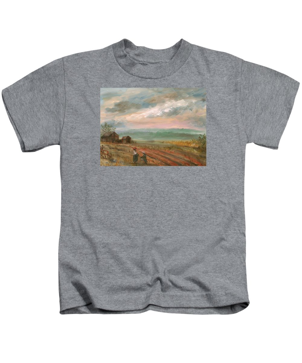 Landscape Kids T-Shirt featuring the painting A Time To Plant - Sold by Vivan Robinson
