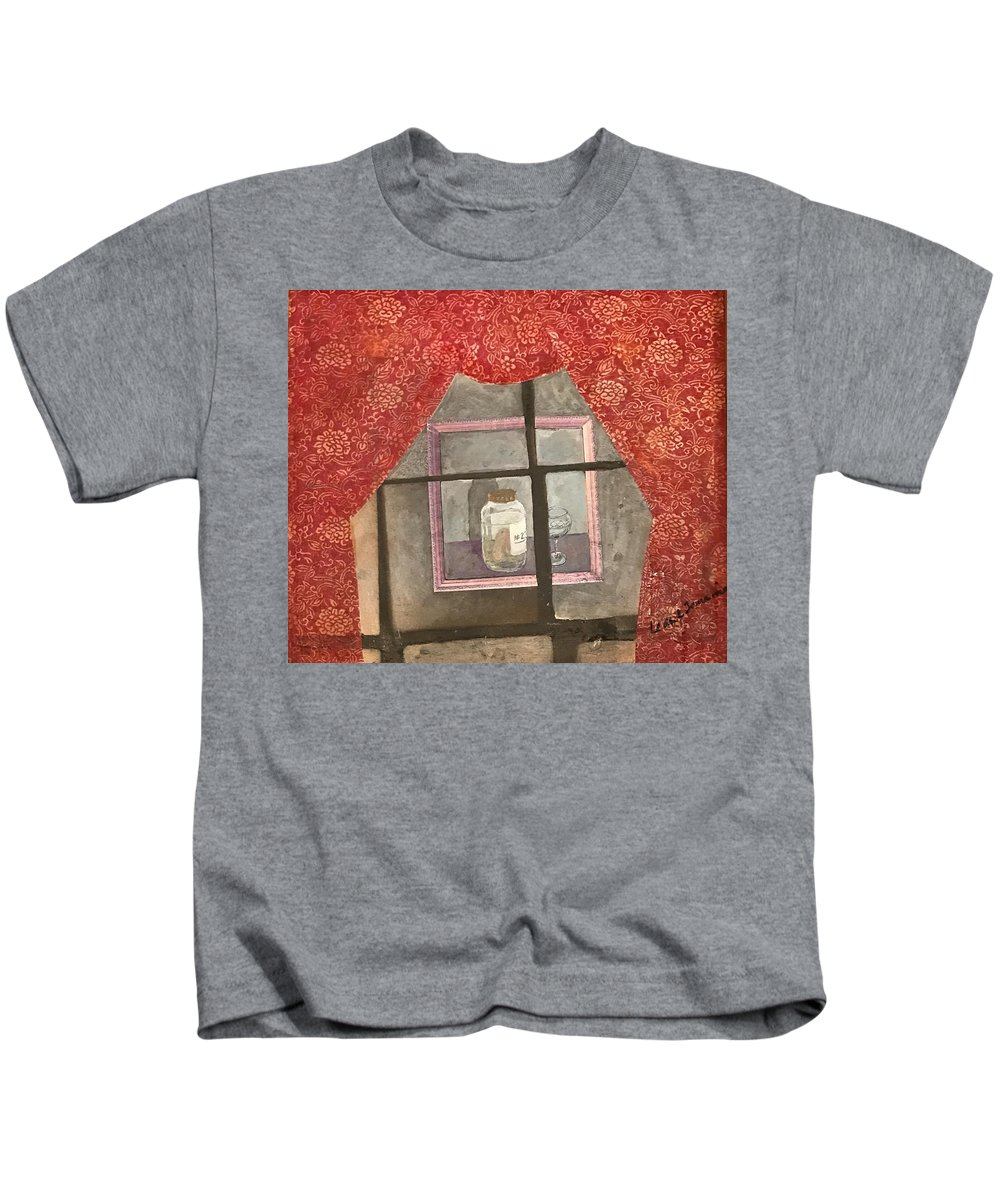 Abstract Kids T-Shirt featuring the painting A Toast by Leah Tomaino
