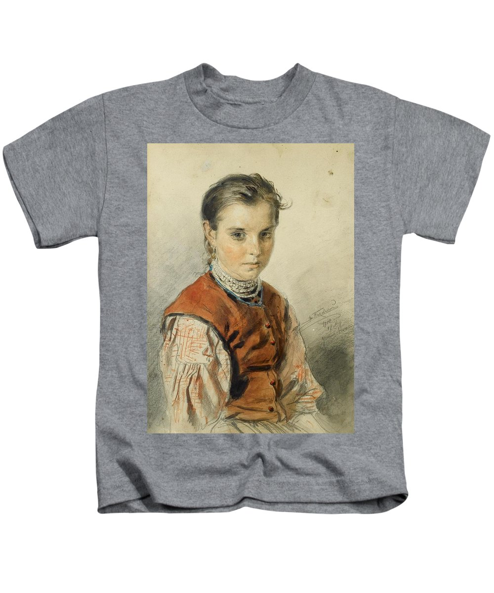 Vladimir Egorovich Makovsky (moscow 1846 - St. Petersburg 1920) Kids T-Shirt featuring the painting A Ukrainian Peasant Girl by Vladimir Egorovich Makovsky