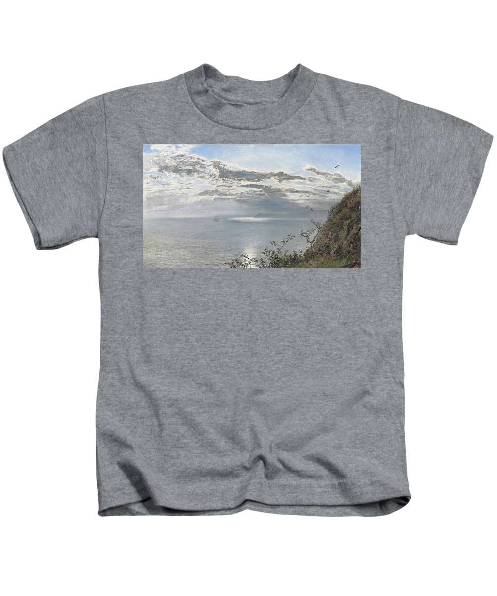 Henry Moore Kids T-Shirt featuring the painting A White Calm After Thunder Showers by MotionAge Designs