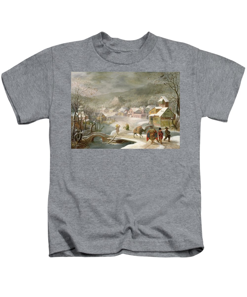 Winter Kids T-Shirt featuring the painting A Winter Landscape With Travellers On A Path by Denys van Alsloot