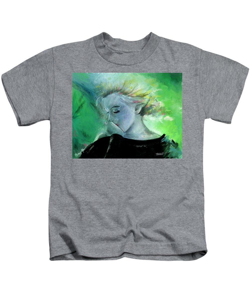 Marilyn Monroe Kids T-Shirt featuring the painting Marilyn Monroe, Woman's Scorn. by Mark Tonelli