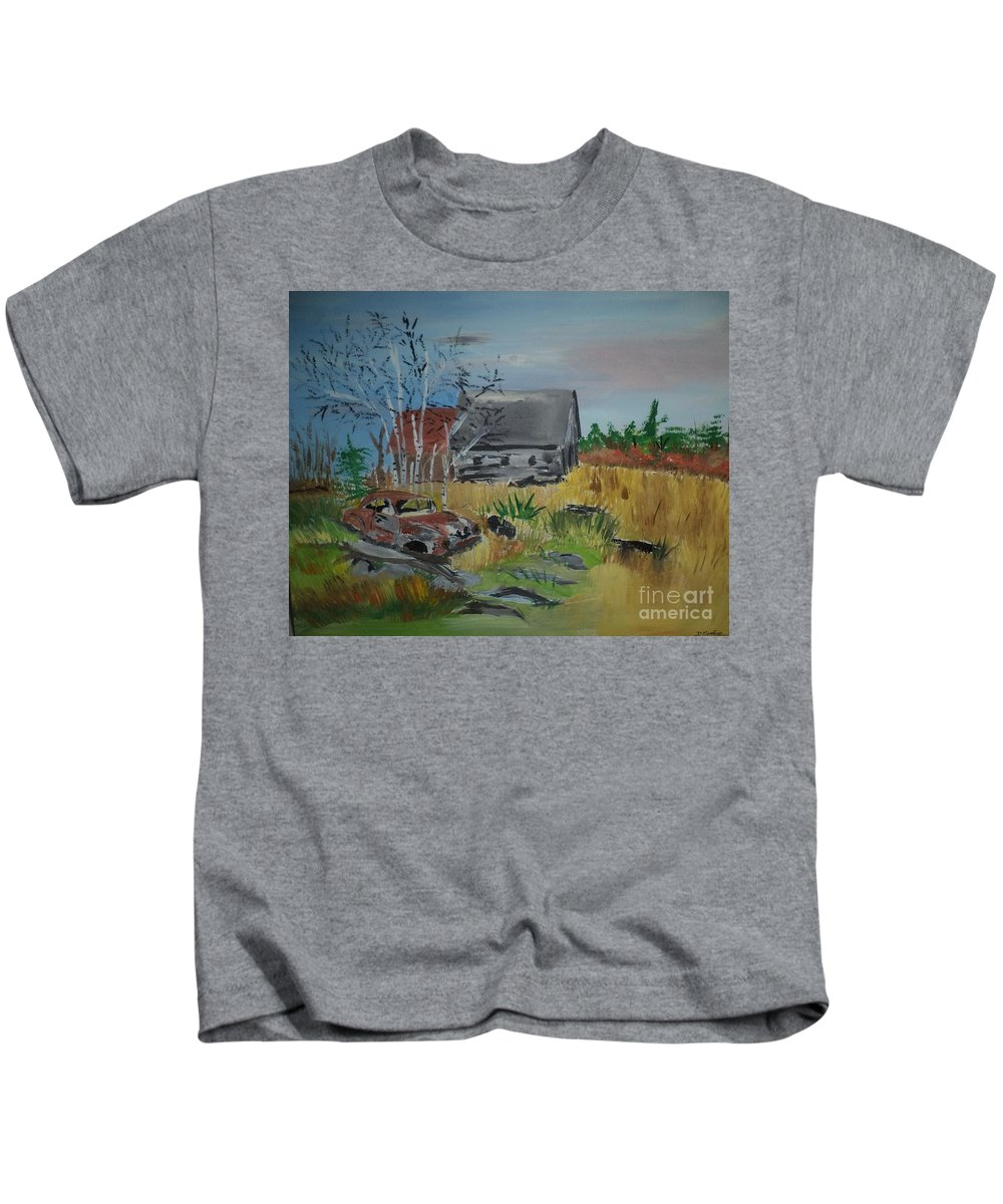 Barn Kids T-Shirt featuring the painting Abandoned Barn by Donald Northup