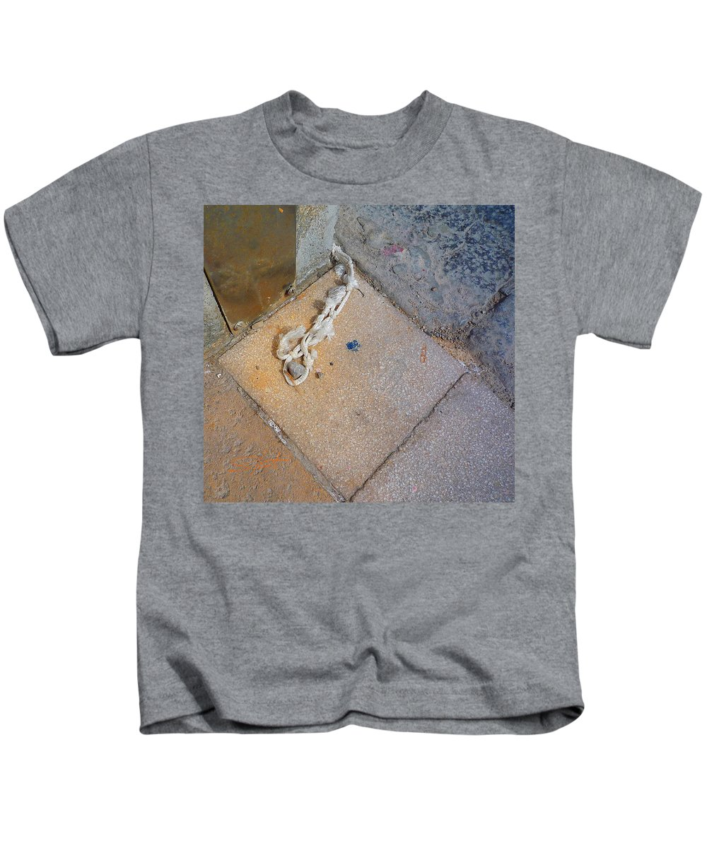 Fishing Net Kids T-Shirt featuring the photograph Abandoned Fishing Knot by Charles Stuart
