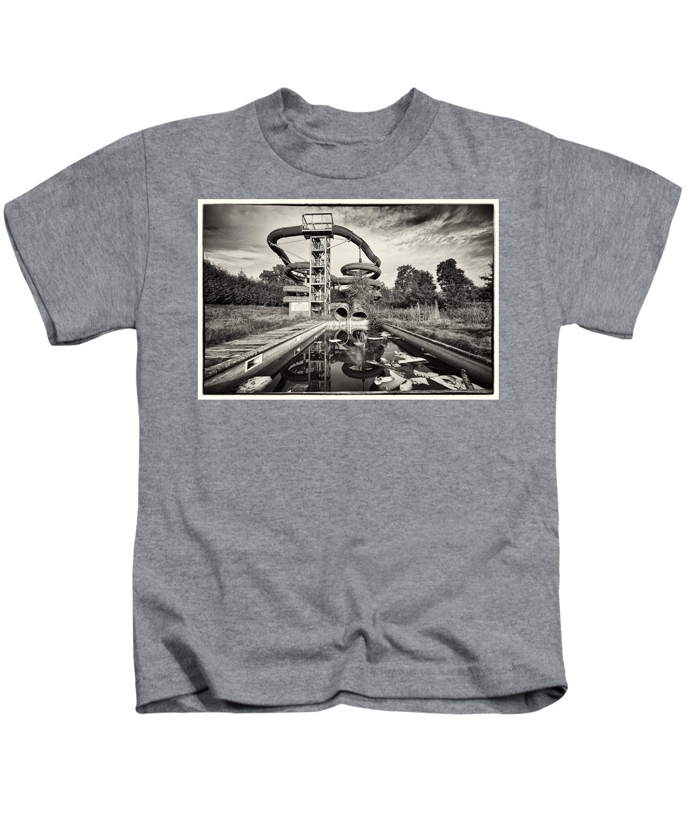 Belgium Kids T-Shirt featuring the photograph Lets Have A Splash - Abandoned Water Park by Dirk Ercken
