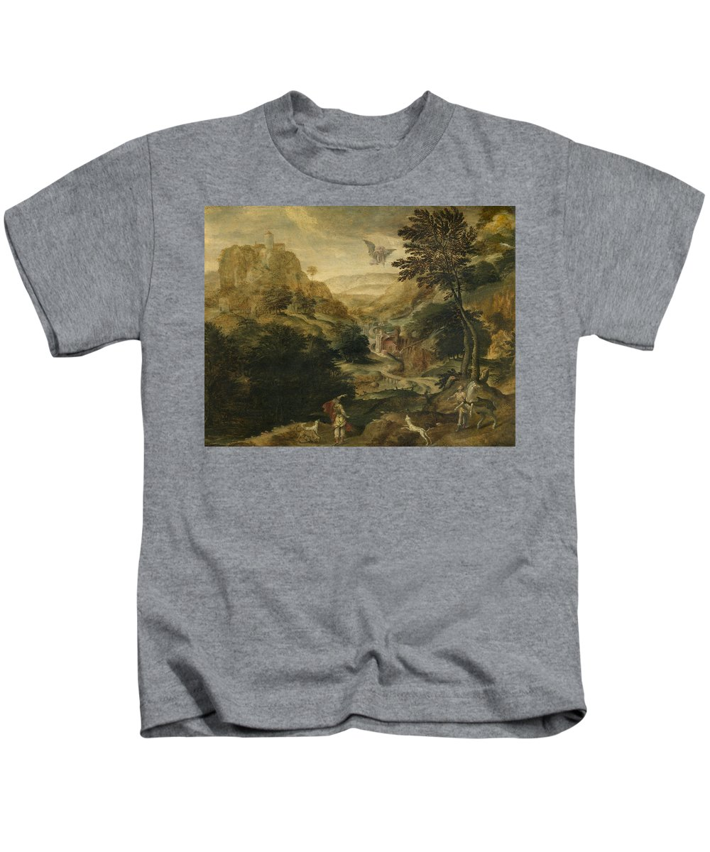 Paul Bril Kids T-Shirt featuring the painting Abduction Of Ganymede by Paul Bril