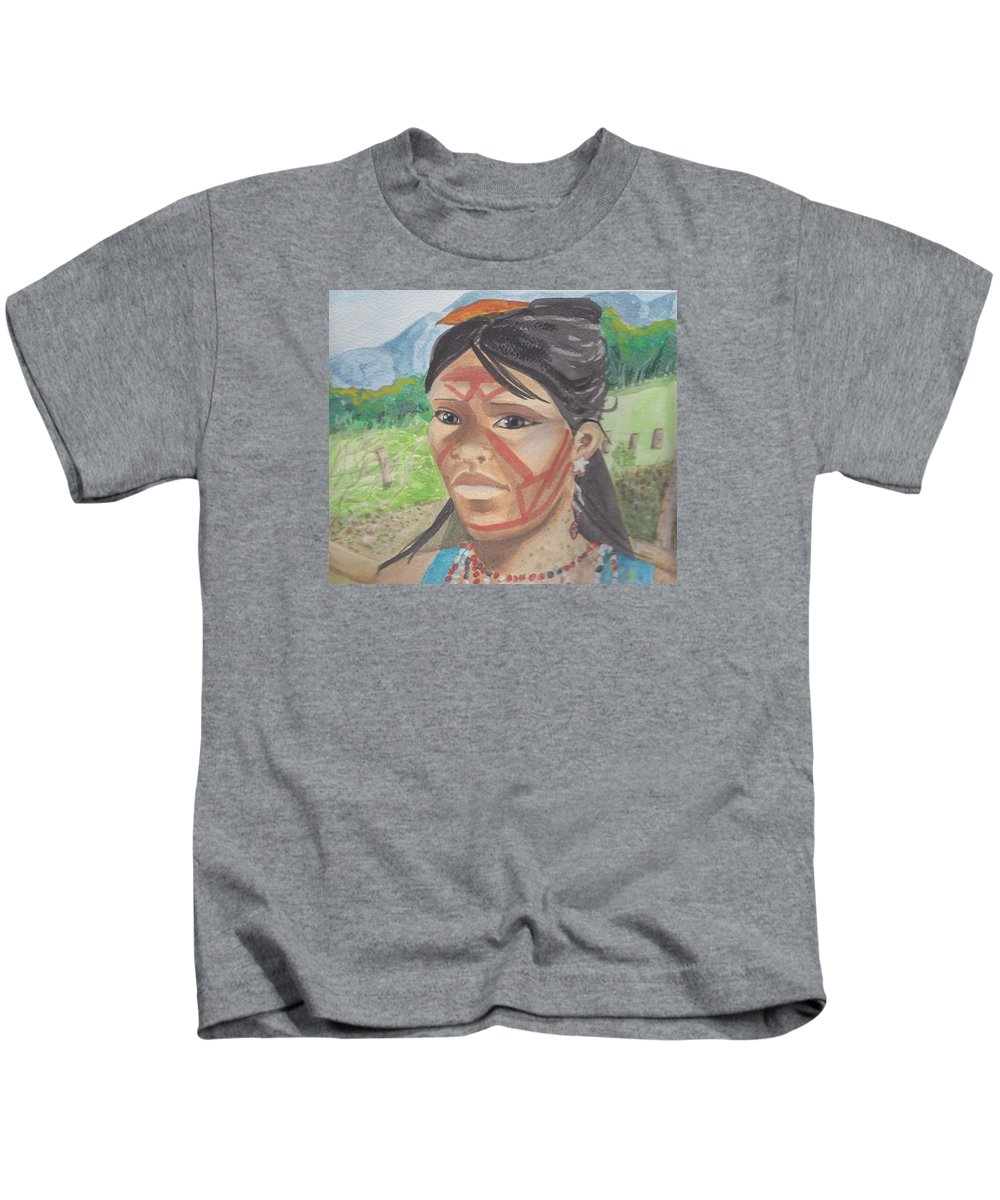 Mujer Kids T-Shirt featuring the painting Mujer Indigena by Ivonne Sequera