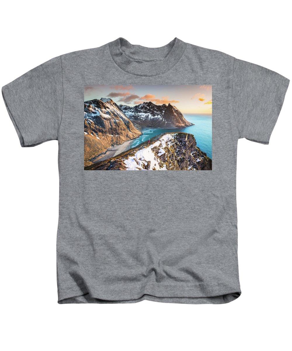 Kvalvika Kids T-Shirt featuring the photograph Above The Beach by Alex Conu