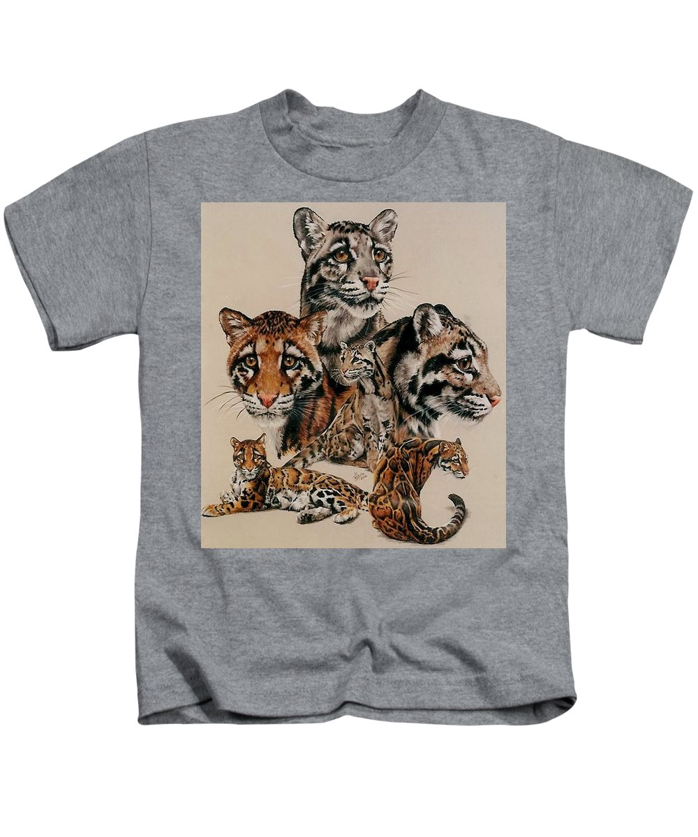 Clouded Leopard Kids T-Shirt featuring the drawing Absence of Fear by Barbara Keith