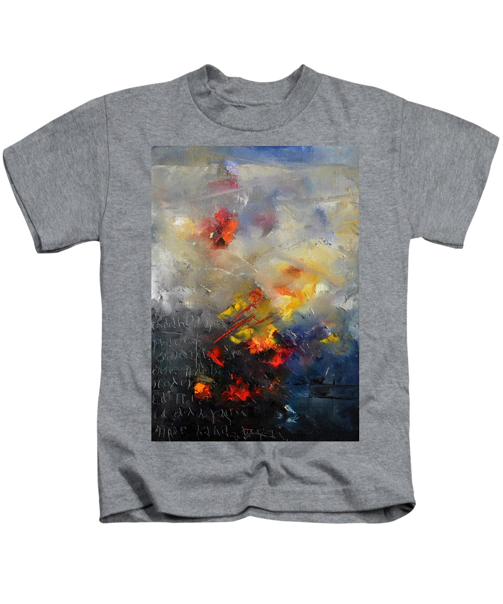 Abstract Kids T-Shirt featuring the painting Abstract 0805 by Pol Ledent