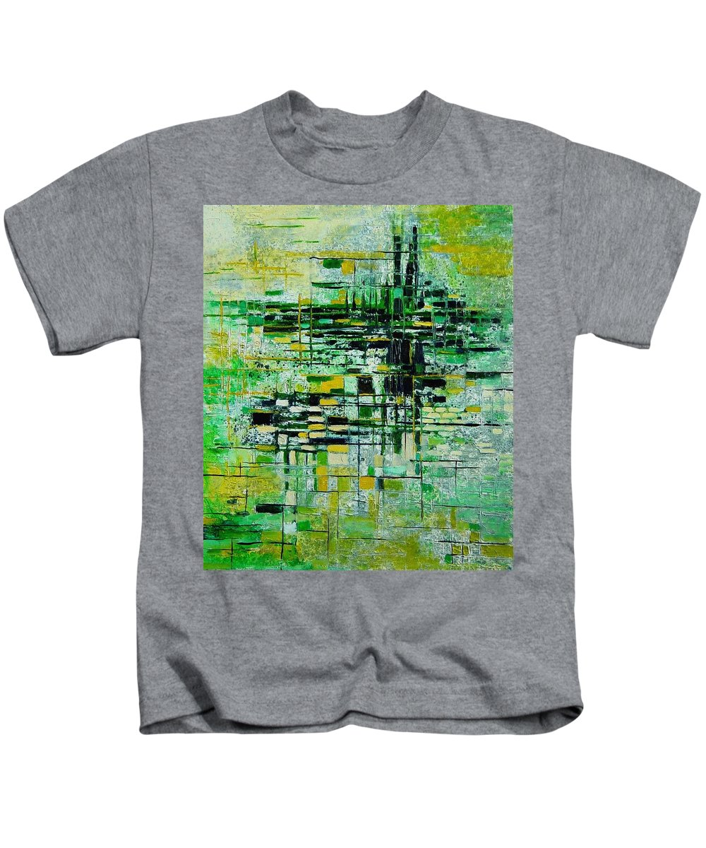 Abstract Kids T-Shirt featuring the painting Abstract 5 by Pol Ledent