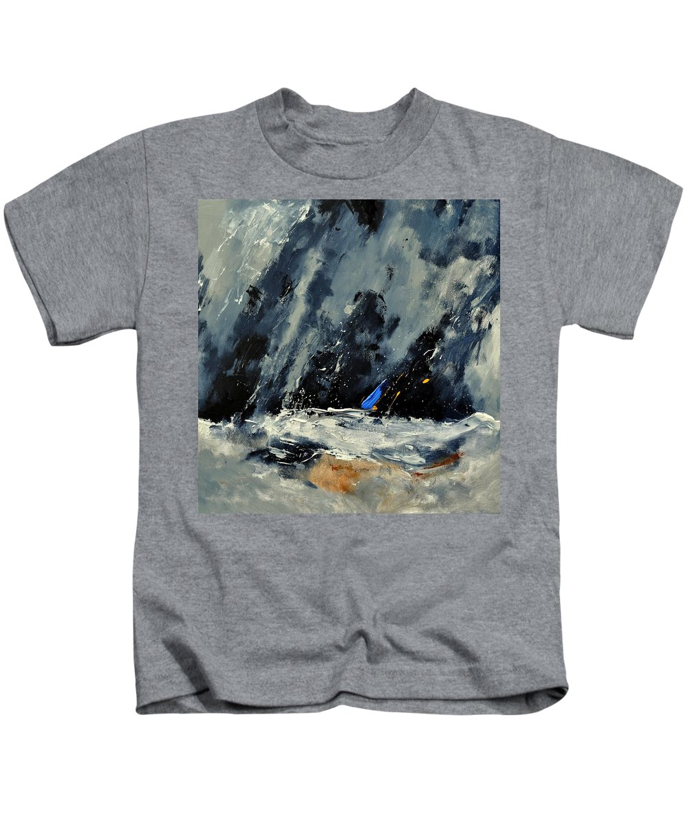 Abstract Kids T-Shirt featuring the painting Abstract 88114080 by Pol Ledent