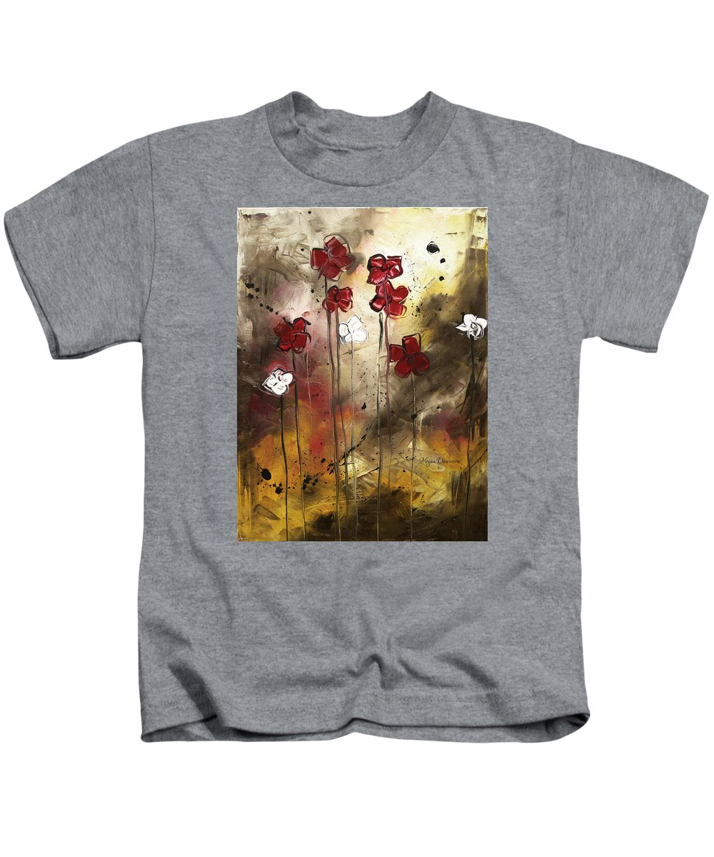 Abstract Kids T-Shirt featuring the painting Abstract Art Original Flower Painting Floral Arrangement By Madart by Megan Duncanson