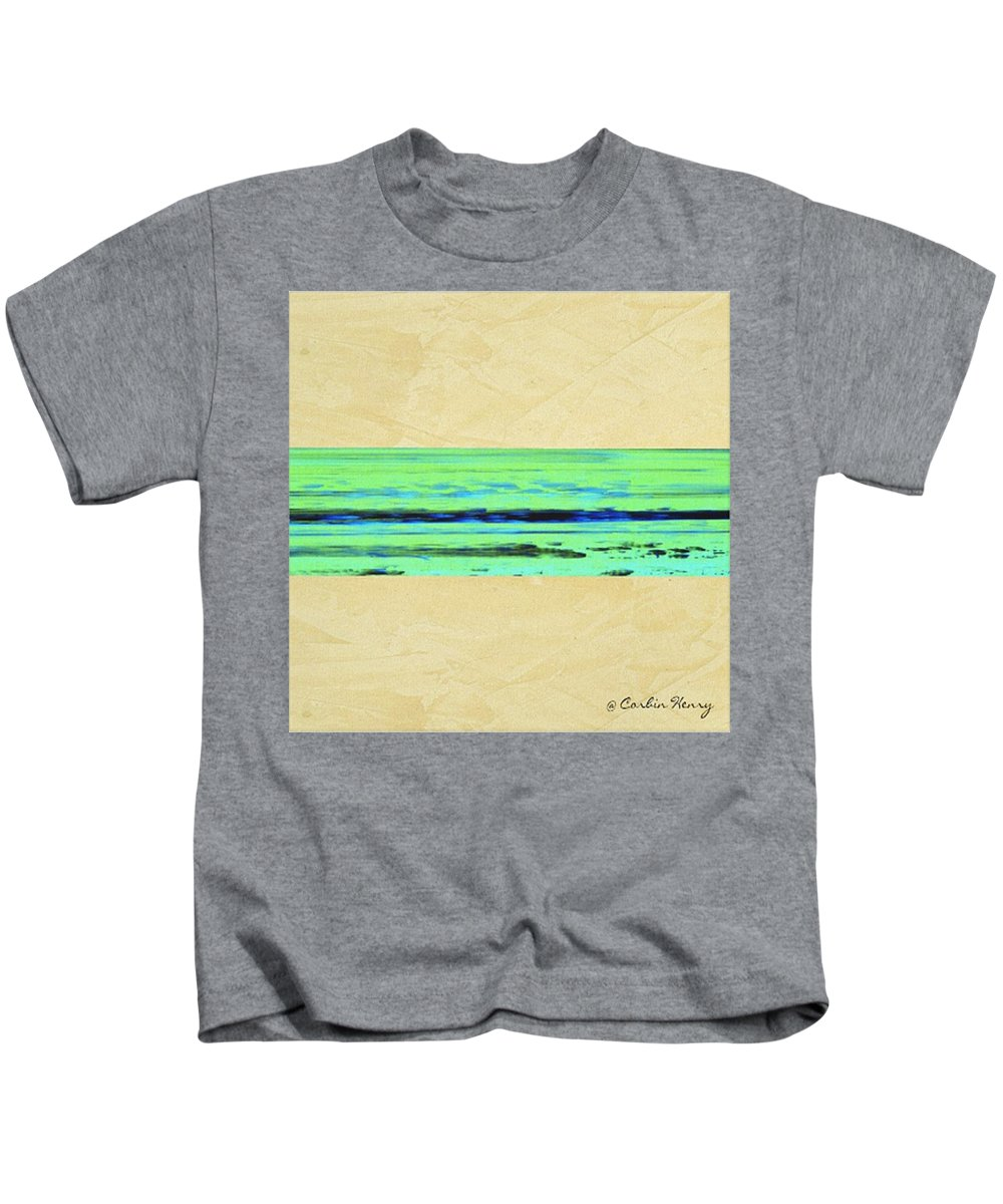 Beach Kids T-Shirt featuring the mixed media Abstract Beach Landscape by Corbin Henry