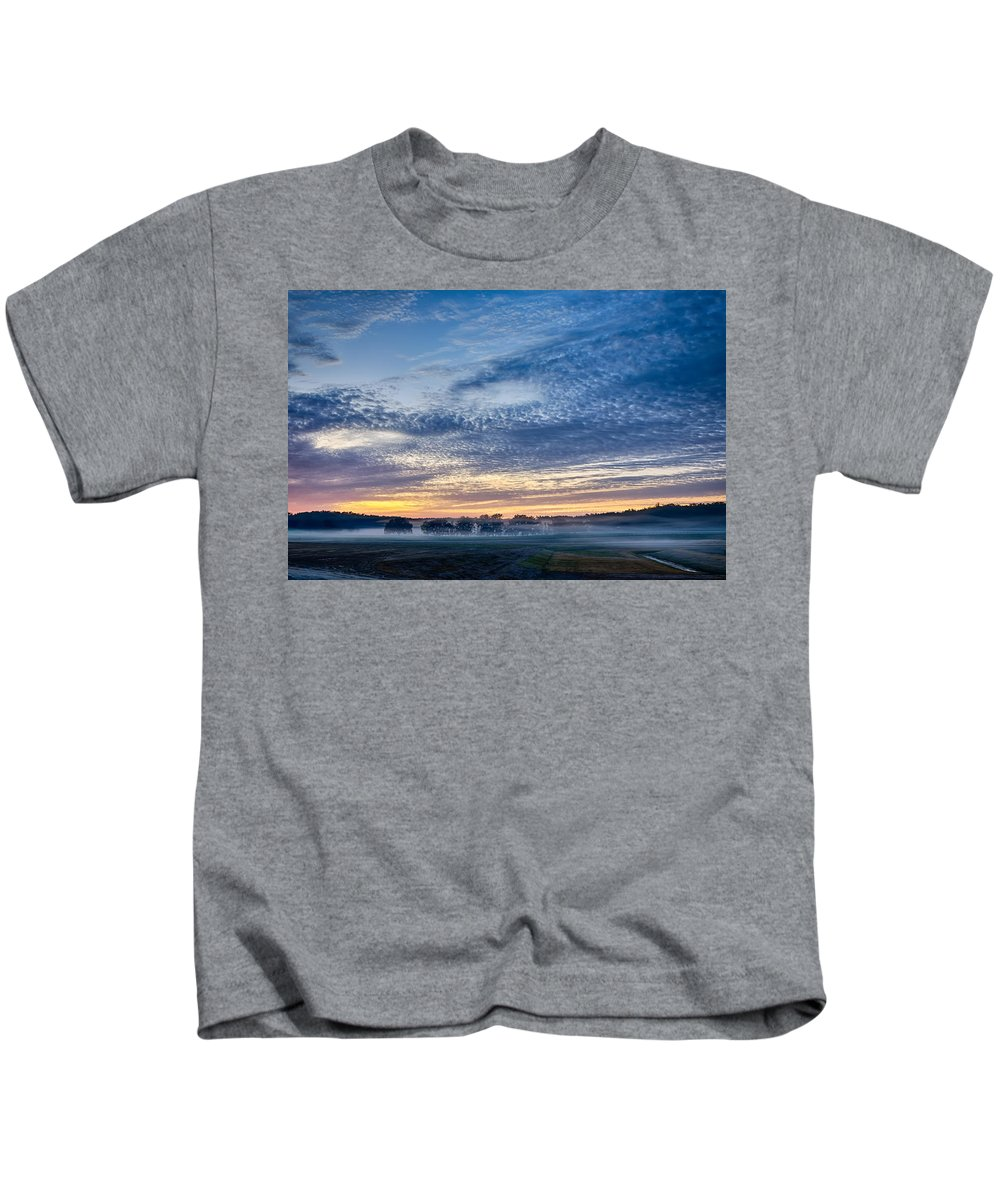 Abstract Kids T-Shirt featuring the photograph Abstract Early Morning Sunrise Over Farm Land by Alex Grichenko