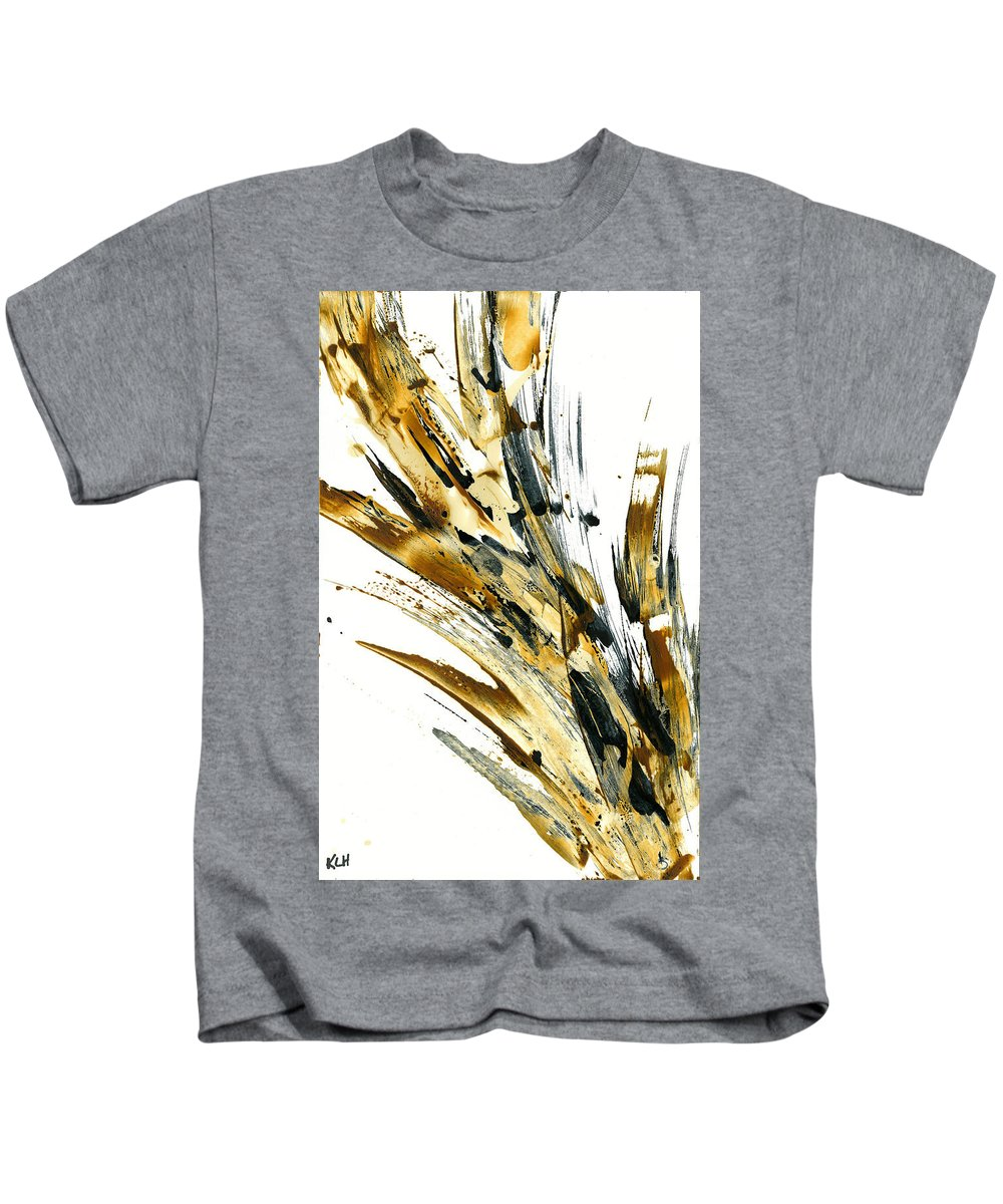 Rich Raw Sienna Painting Kids T-Shirt featuring the painting Abstract Expressionism Painting 79.082810 by Kris Haas