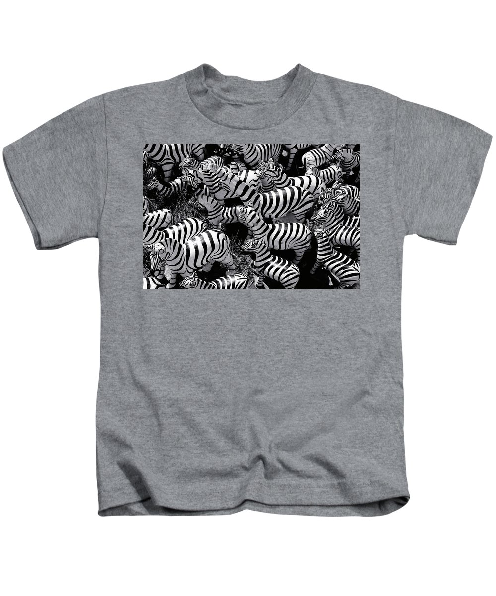 Zebras Kids T-Shirt featuring the photograph Abstract Of Zebras Statue In Various Sizes by Atlantis Images