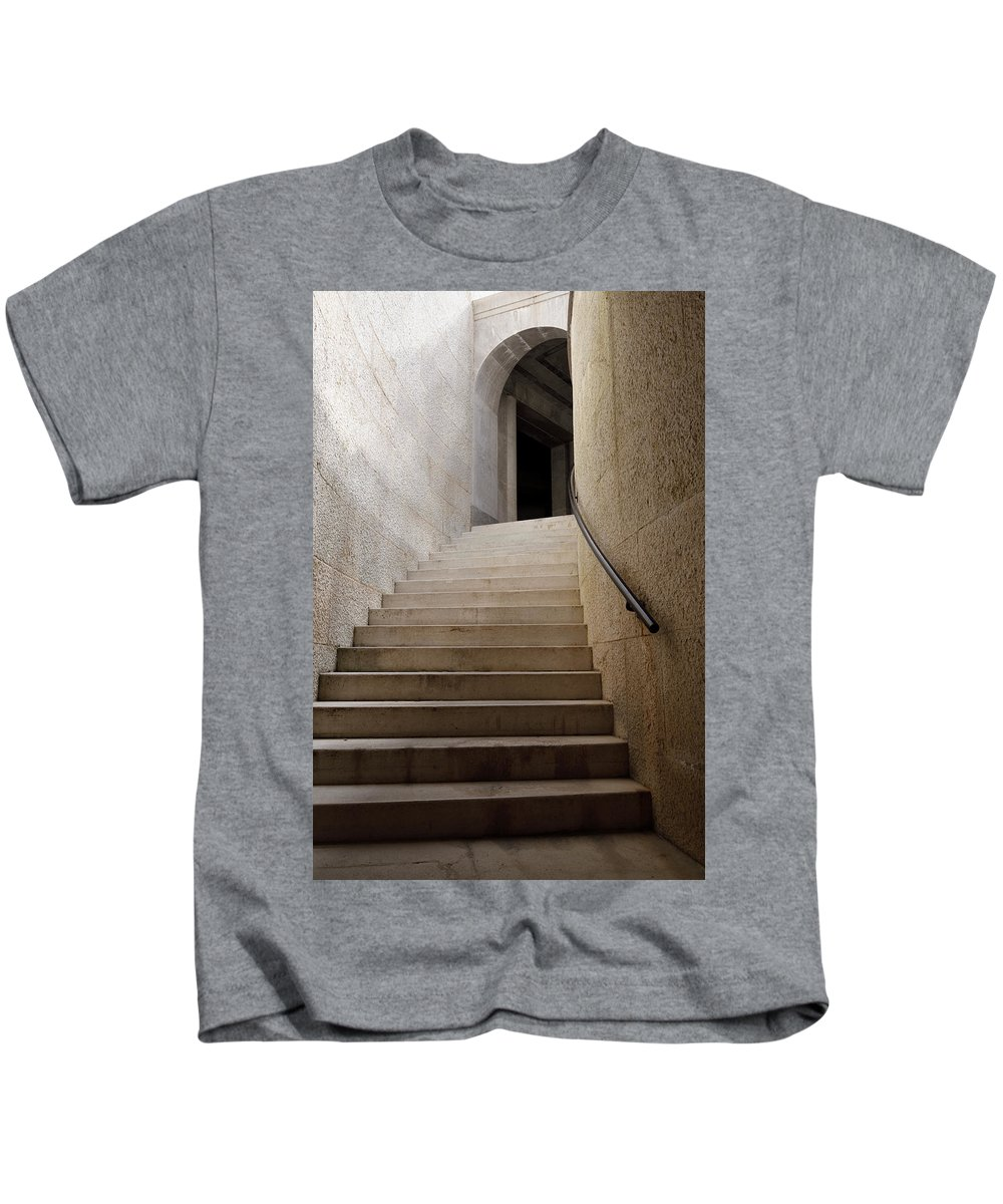 Abstract Kids T-Shirt featuring the photograph Abstract View Of Stone Curved Staircase At The World War I Monum by Reimar Gaertner