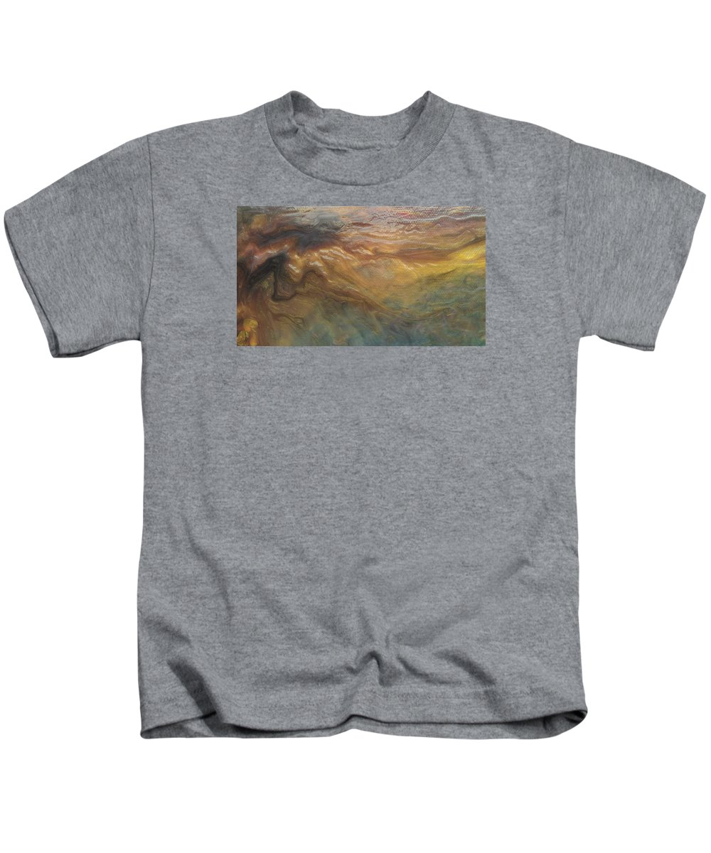 Abstract Kids T-Shirt featuring the painting Acylic Pour by Sonya Wilson