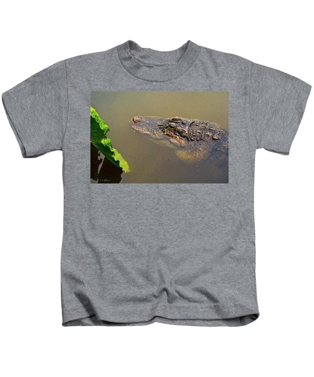 Alligator Kids T-Shirt featuring the photograph Admiring The Leaf by Christopher Holmes