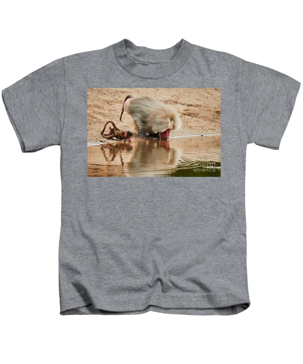 Adult Kids T-Shirt featuring the photograph Adult Baboon And Baby Together On The Waterfront by Nick Biemans