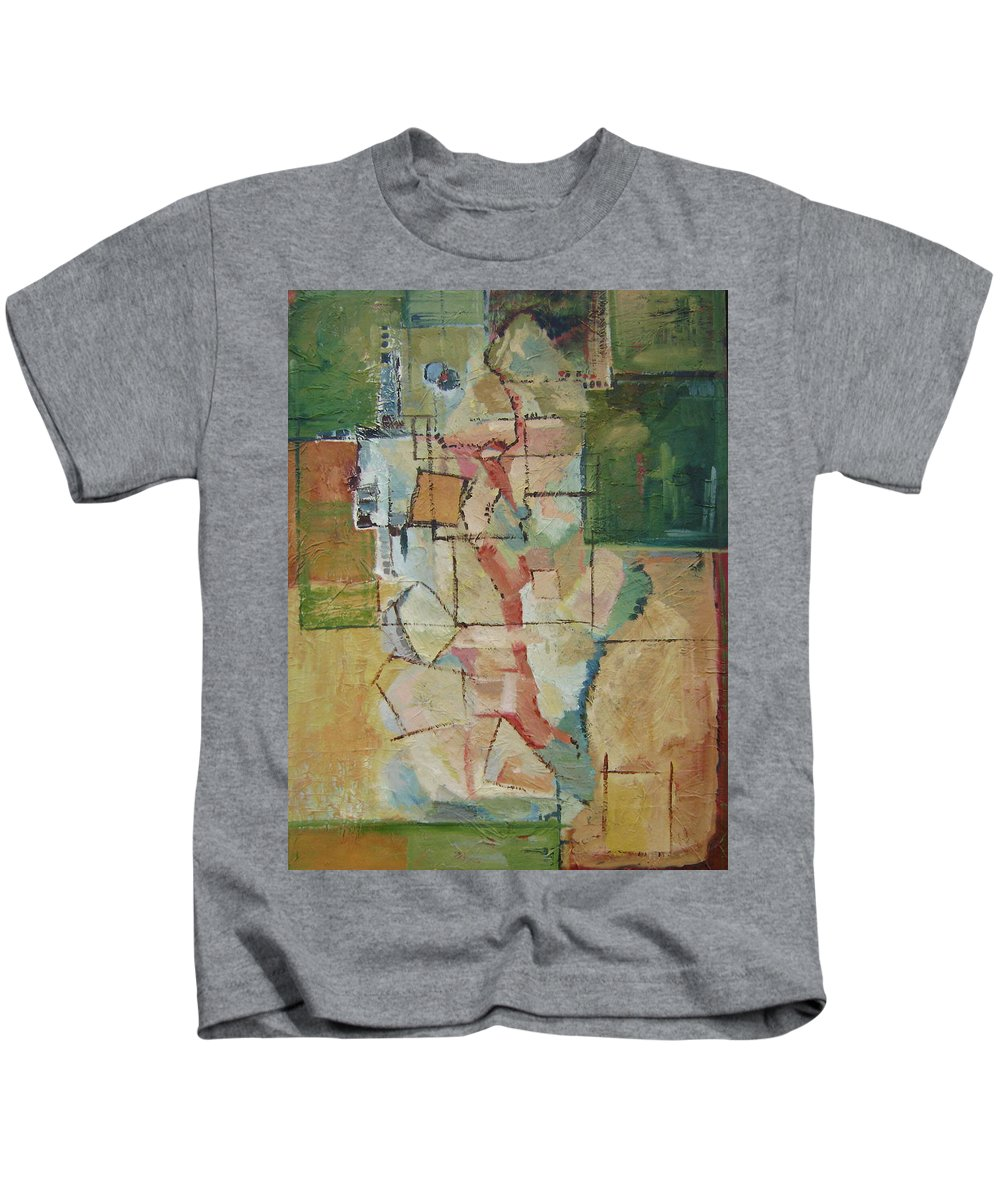 Abstract Art Kids T-Shirt featuring the painting Aerial by Ginger Concepcion
