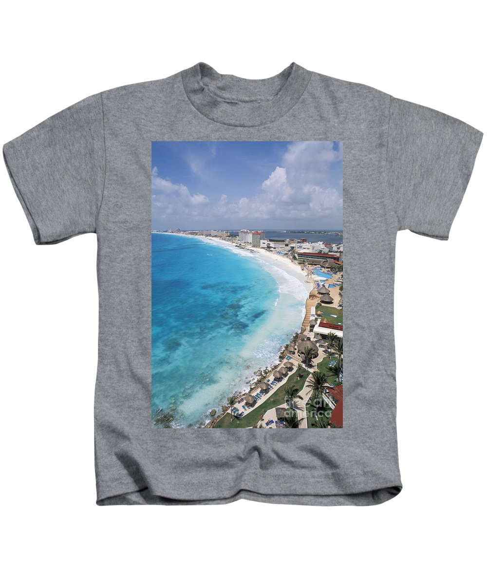 Aerial Kids T-Shirt featuring the photograph Aerial Of Cancun by Bill Bachmann - Printscapes