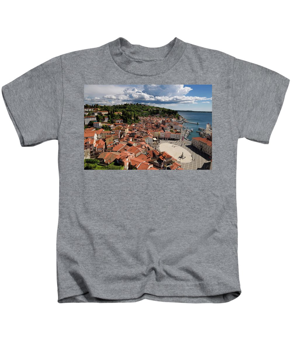 Aerial Kids T-Shirt featuring the photograph Aerial View Of Piran Slovenia On The Adriatic Sea Coast With Har by Reimar Gaertner