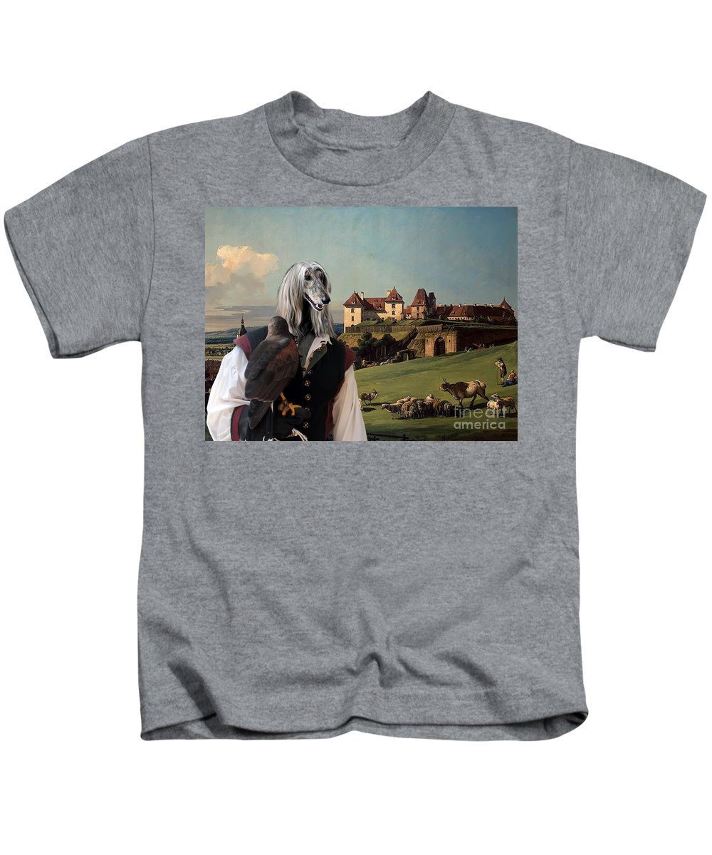Afghan Hound Canvas Kids T-Shirt featuring the painting Afghan Hound-falconer And Castle Canvas Fine Art Print by Sandra Sij