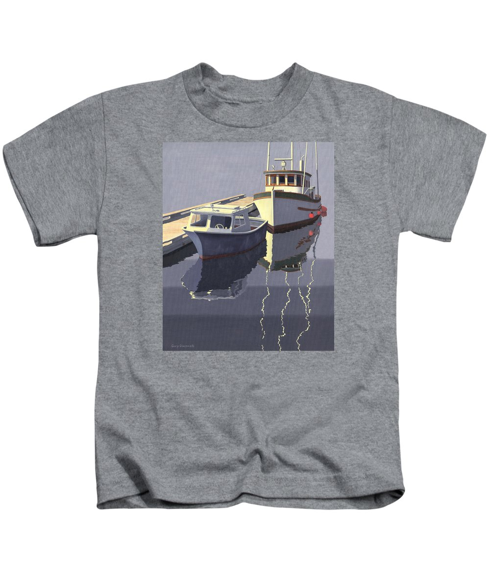 Boat Kids T-Shirt featuring the painting After The Rain by Gary Giacomelli