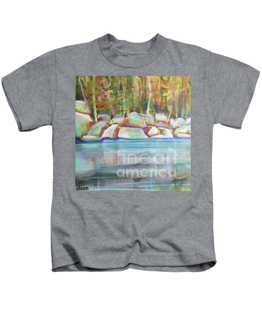 Landscape Kids T-Shirt featuring the painting After The Rain by Karen Sloan