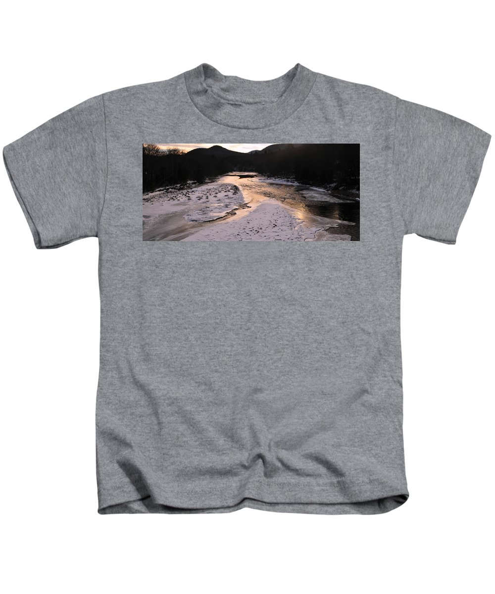 Afterglow On The Pemigewassett Backroads Of New Hampshire Kids T-Shirt featuring the photograph Afterglow On The Pemigewassett by Bill Driscoll