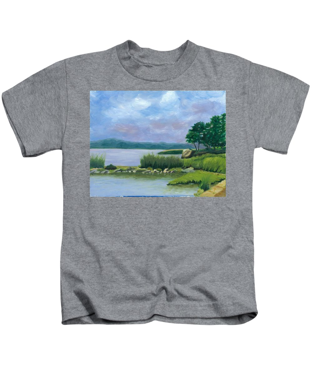 Seascape Kids T-Shirt featuring the painting Afternoon At Pilgrim by Paula Emery