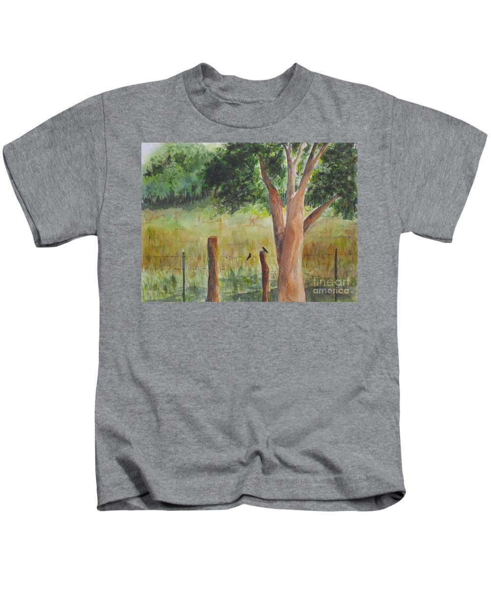 Landscape Kids T-Shirt featuring the painting Afternoon Chat by Vicki Housel