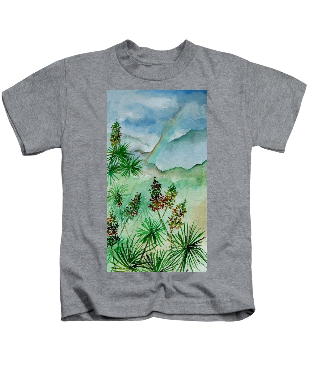 Watercolor Kids T-Shirt featuring the painting Afternoon Rainbow by Brenda Owen