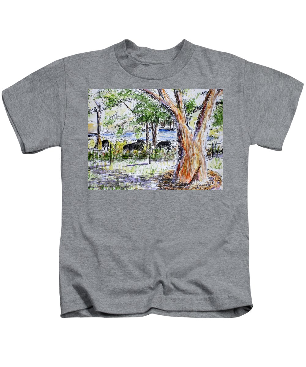 Cows Kids T-Shirt featuring the painting Afternoon Siesta On The Farm by Vicki Housel