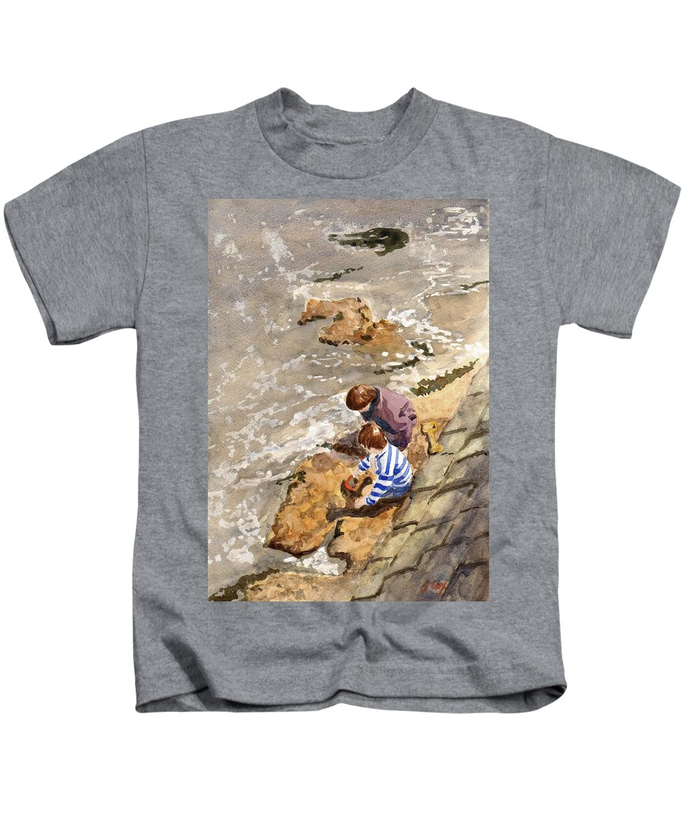 Water. Sea. Tide. Boys. Children. Coast. Beach. Coastal. Sand. Sea. Play. Kids T-Shirt featuring the painting Against The Tide by John Cox