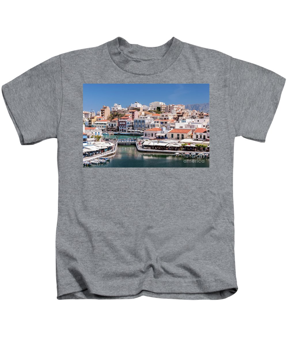 Greece Kids T-Shirt featuring the photograph Agios Nikolaos Lagoon Entrance by Antony McAulay