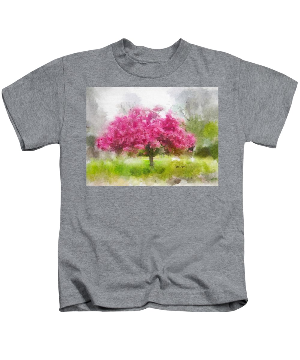 Trees Kids T-Shirt featuring the painting Aistra Pavasario by Greg Collins