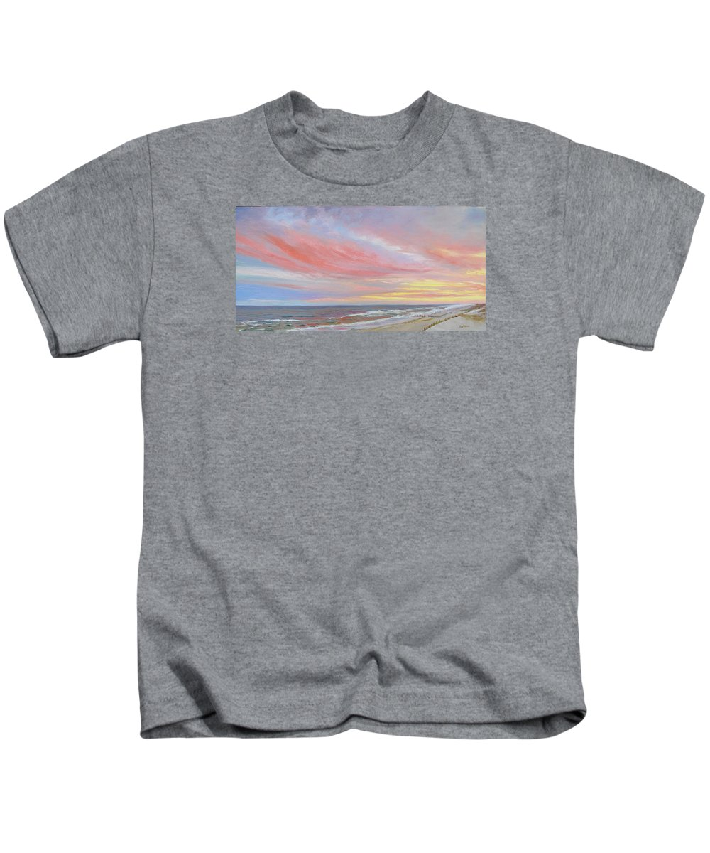 Seascape Kids T-Shirt featuring the painting Alberta's Sunset by Lea Novak